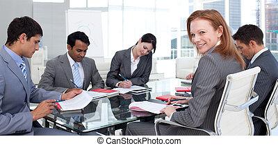 mezinárodní, setkání, business četa