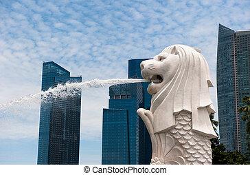 mezník, socha, merlion, singapore