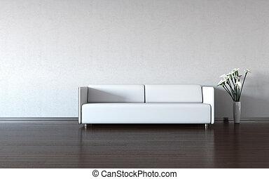 Minimální: bílý gauč a váza u zdi