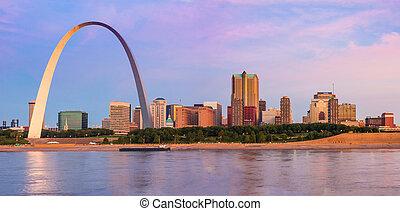 mississippi, louis, svatý, městská silueta, řeka, oblouk, východ slunce