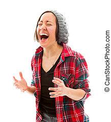 Mladá žena se směje