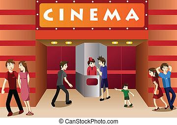 Mladí lidé, co se potloukají před kinem