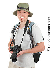 Mladý turista s kamerou