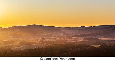 mlha, hory, východ slunce, krajina, kopcovitý, les, -, louky