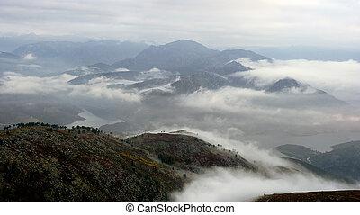 mlhavý, rozednívat se, hory