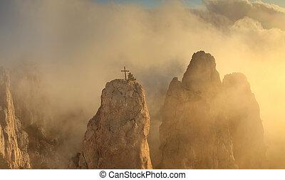 mlhavý, slunit se, rozednívat se, hory