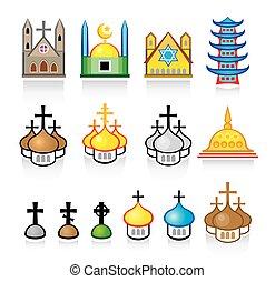 mnich, chrám, umístění, uctívat