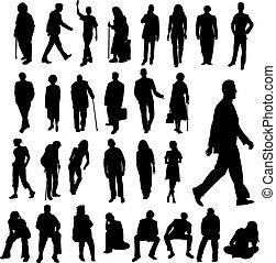mnoho, silhouettes, národ