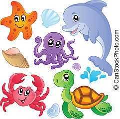 Mořské rybky a zvířecí sbírky