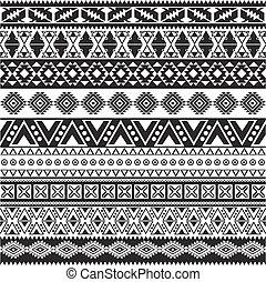 model, kmenový, -, seamless, aztécký, temný grafické pozadí, neposkvrněný