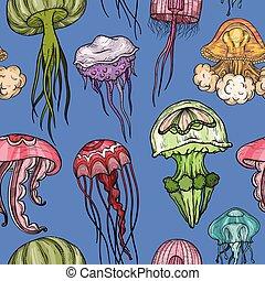 model, seamless, jellyfish.