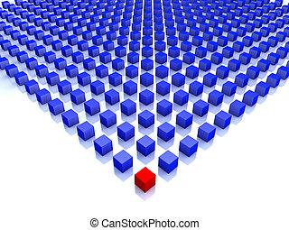 Modrá kostka s jednou červenou na rohu