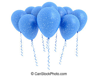 Modré balónky izolované na bílém