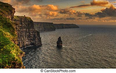 moher, clare, hrabství, slavný, irsko, skalní stěna, západ slunce