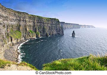 moher, nad, clare, hrabství, slavný, západ slunce, irsko, skalní stěna