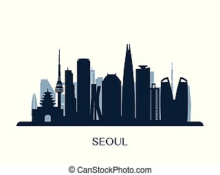 monochróm, městská silueta, seoul, silhouette.