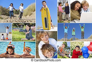 montáž, hraní, šťastný, aktivní, děti
