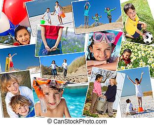 montáž, hraní, aktivní, šťastný, děti