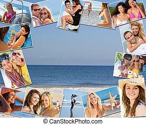 montáž, průvodce, šťastný, lifestyle, dovolená, kuplovat, i kdy