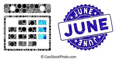 Mosaický měsíční kalendář s textovou známkou