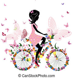 motýl, jezdit na kole, romantik, děvče