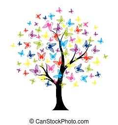 motýl, léto, strom