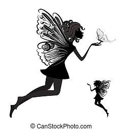 motýl, víla, silueta