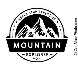 Mountain Logo emblem. Adventure retro vektor ilustrace.