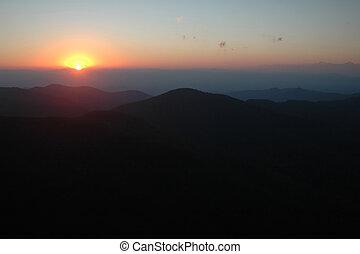 Mountain západ slunce