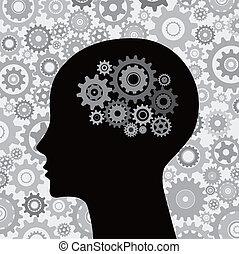 mozek, hlavička, sloučit, grafické pozadí