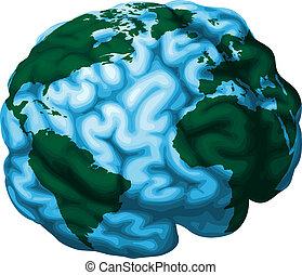 mozek, koule, ilustrace, společnost