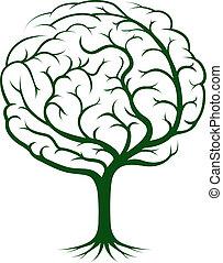 mozek, strom, ilustrace
