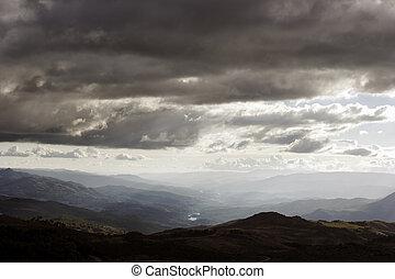 mračný, západ slunce, hory