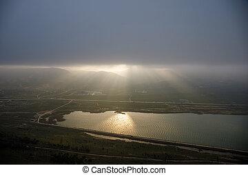 mračno, let, clouds., nad, baku, ázerbájdžán, rána, večer, překrásný, hora., jezero, čas