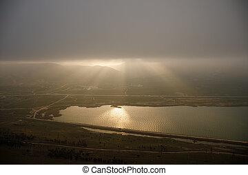mračno, překrásný, čas, večer, rána, hora., clouds., jezero, let, baku, ázerbájdžán, nad