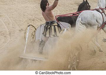 mrskat, aréna, válečníci, cirkus, bojechtivý, římský, řídit vůz, úvodník