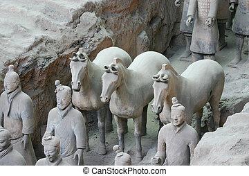mrskat, válečníci, terakotový, xian, -, čína
