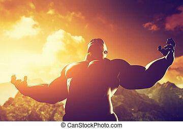 mrtvola, jeho, mocnina, atletický, hrdina, svalnatý, forma, síla, vylisovat, energický voják