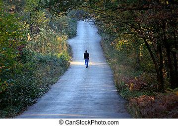 Muž kráčí sám po cestě v lese