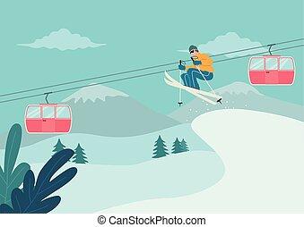 Muž lyžuje na sněhu