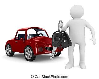 Muž s klíčky od auta. Izolovaný obraz