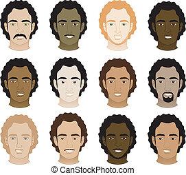 muži, afro, kudrnatý, postavit se obličejem k