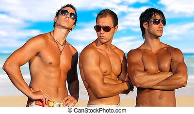 muži, pláž, povolit