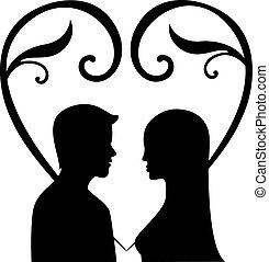 muži, vektor, silueta, manželka, láska