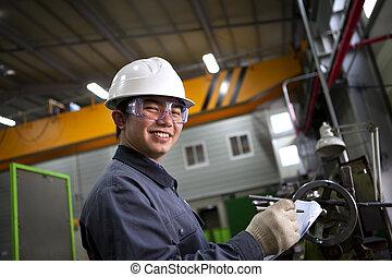 mužský, asijský, průmyslový, mechanický