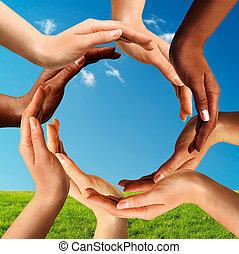 Multiracionální ruce dělající kruh společně