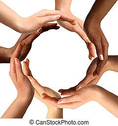 Multirakální ruce dělají kruh