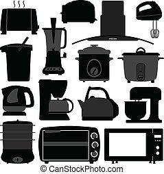náčiní, elektronický, přístroji, kuchyně