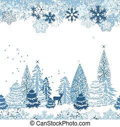 Nádherný modrý vzor s zimním lesem