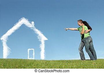 nákupčí, pojem, ubytovat se, půjčování, hypotéka, právě home